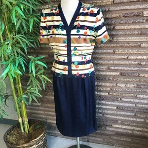 Adrianna Papell Vintage Navy silk Floral Outfit